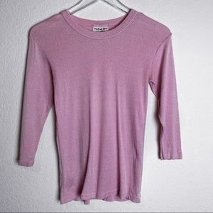Michael Stars Barbie Pink Sparkle Y2K 3/4th sleeve